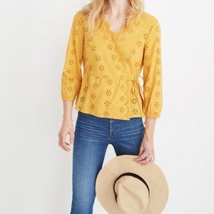 Madewell Scalloped Eyelet Wrap Yellow Top Blouse.